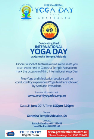 INTERNATIONAL YOGA DAY @ ADELAIDE  – FREE Registration