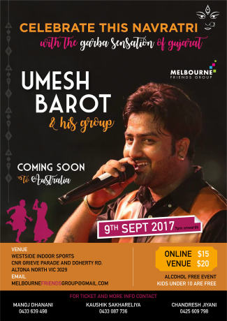 Navratri Dandia with UMESH BAROT Live in Melbourne
