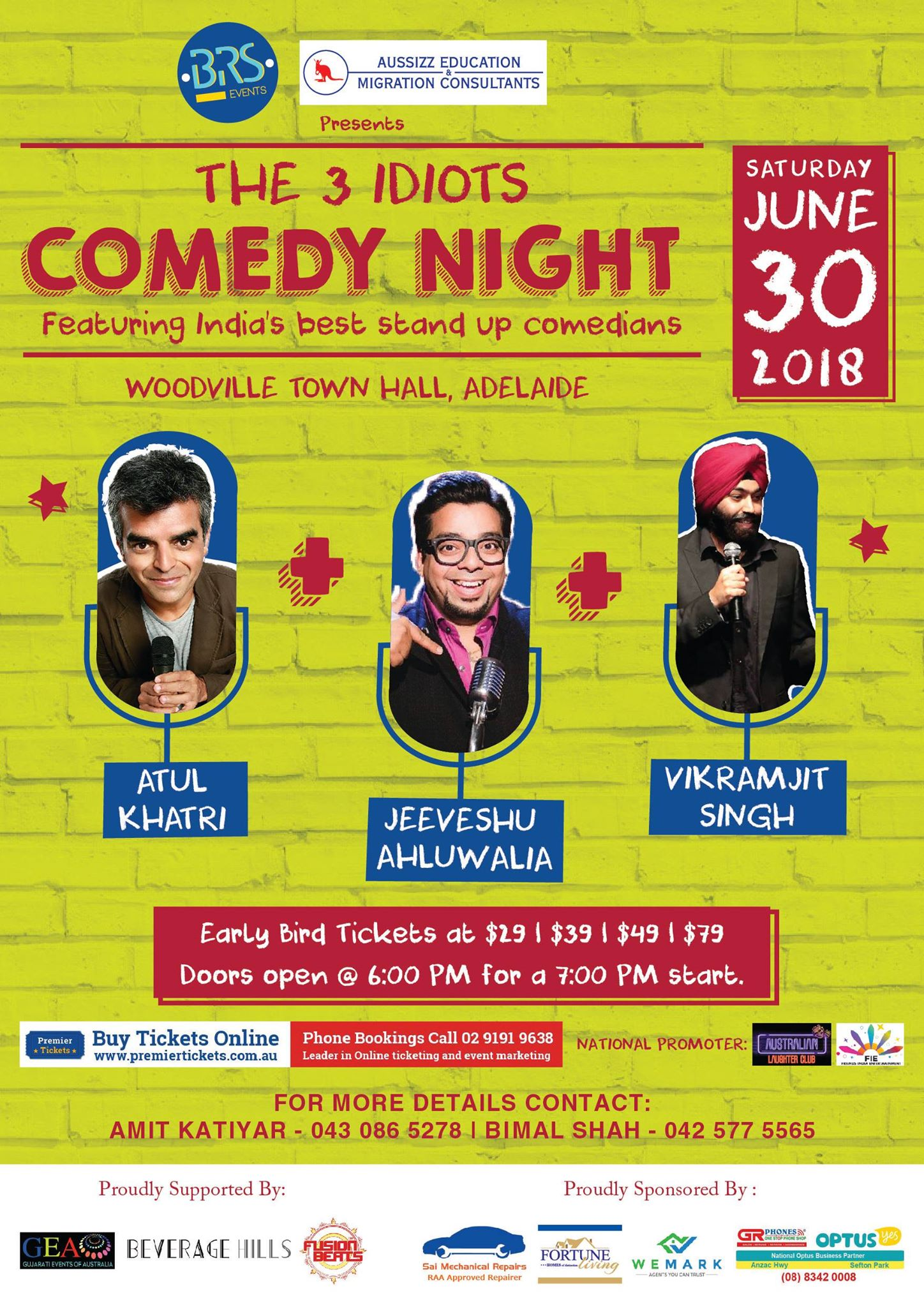 The 3 Idiots Comedy Night in Adelaide