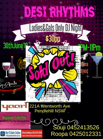 Desi Rhythms Ladies & gals only DJ night