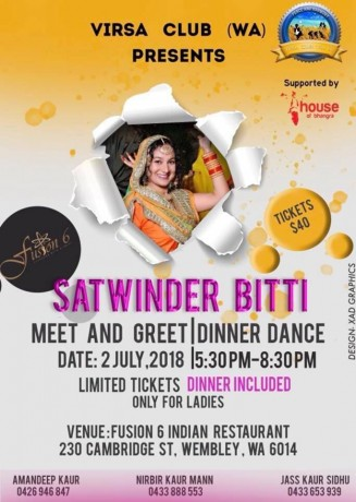 SATWINDER BITTI – MEET & GREET | DINNER DANCE