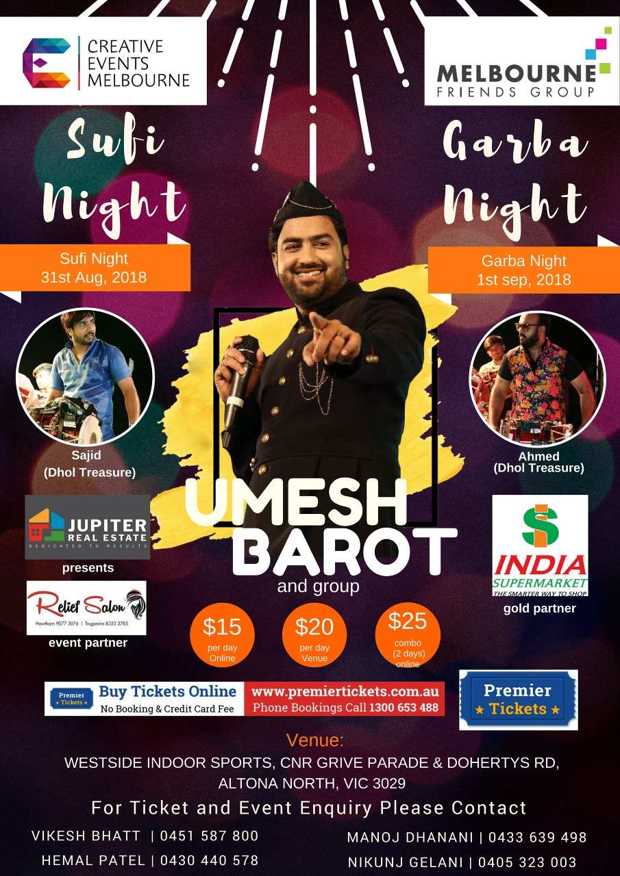 Sufi & Garba Night with UMESH BAROT Live in Melbourne