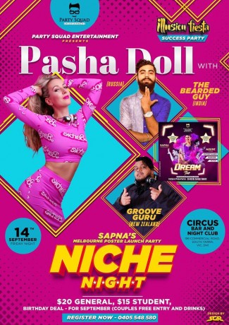 Niche Night with PASHA DOLL & TBG – Melbourne