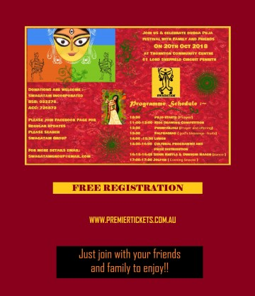 SWAGATAM Durga Puja 2018 – FREE ENTRY