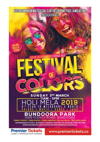 Bundoora Holi Mela-Festival of Colors 2019 – Free Entry