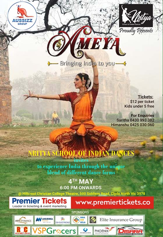 "Nritya School of Indian Dances  proudly presents  ""AMEYA"""