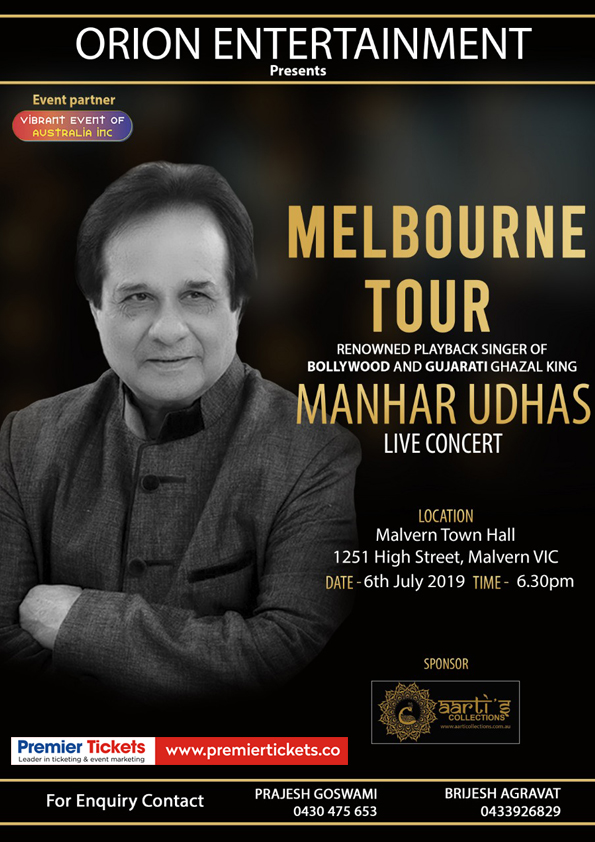 An Evening with Manhar Udhas in Melbourne