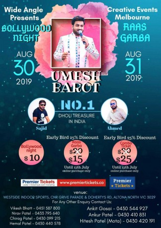 Bollywood & Raas Garba Night with UMESH BAROT in Melbourne