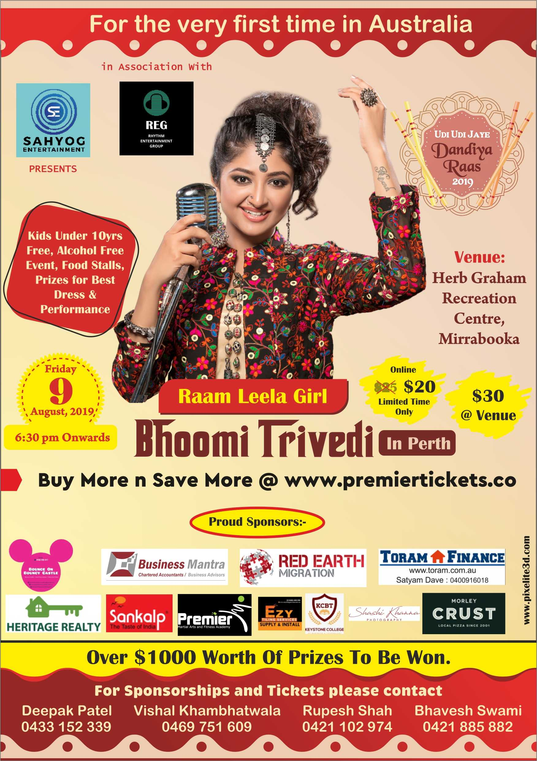 Navratri Dandiya with Bhoomi Trivedi Live in Perth 2019