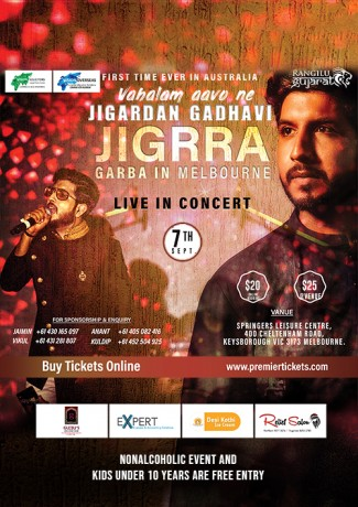 Garba Night with Jigardan Gadhavi Live in Melbourne