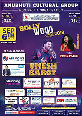Bollywood Night 2019 with UMESH BAROT – Adelaide
