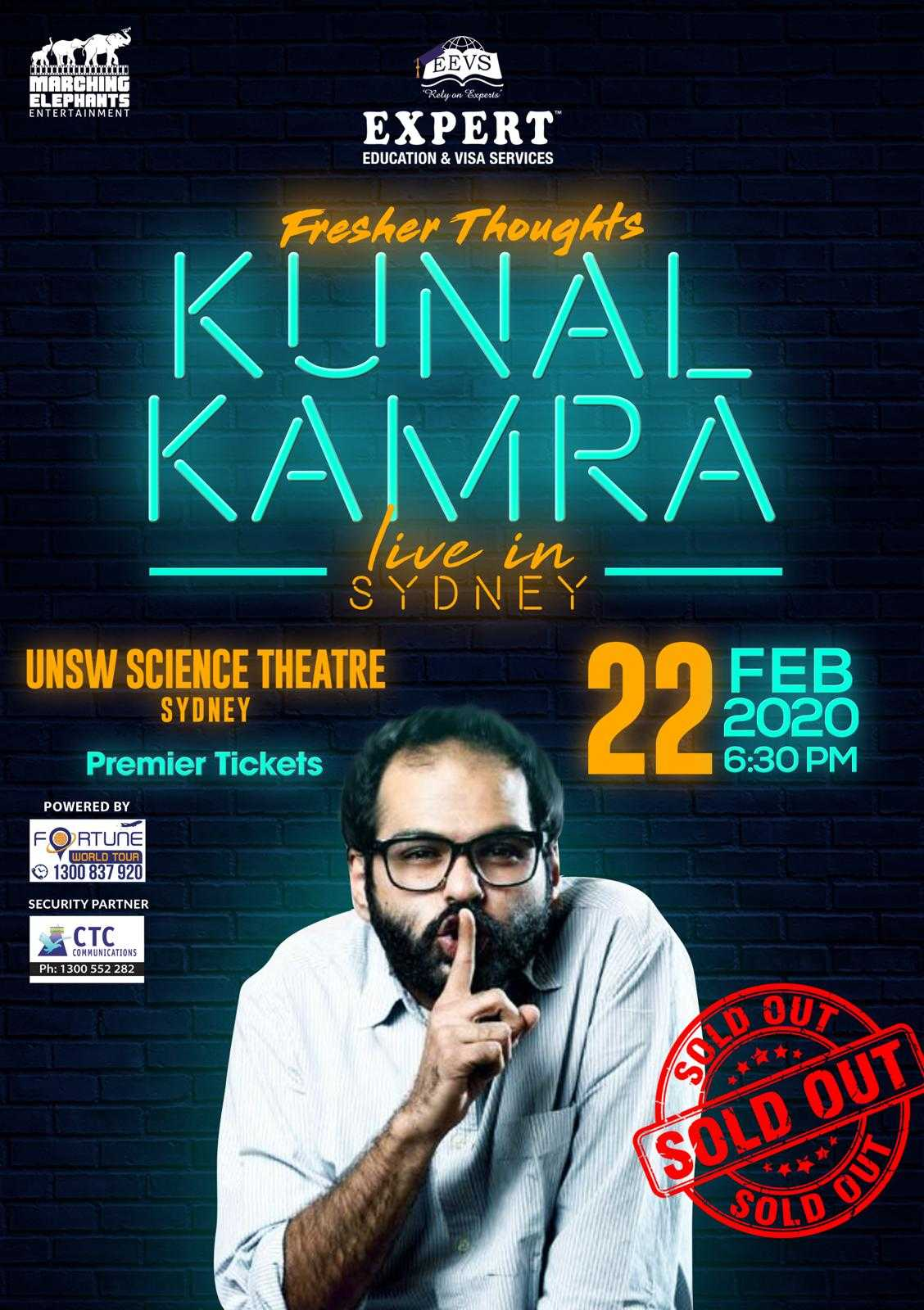 Fresher Thoughts by Kunal Kamra in Sydney