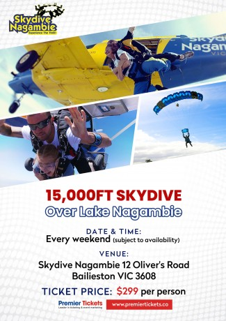 15,000ft Skydive over Lake Nagambie